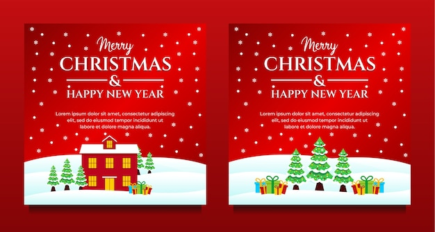 Postagem de mídia social feliz natal e feliz ano novo, banner