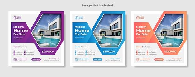 Postagem de mídia social imobiliária ou banner quadrado da web