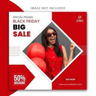 Postagem de mídia social moderna de cor vermelha e branca e modelo de banner de site para venda de moda