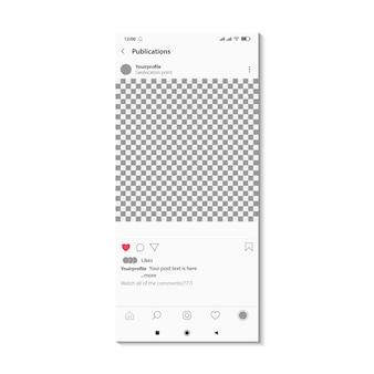 Postagem de mídia social na tela do celular. conceito editável de moldura de foto de layout quadrado.