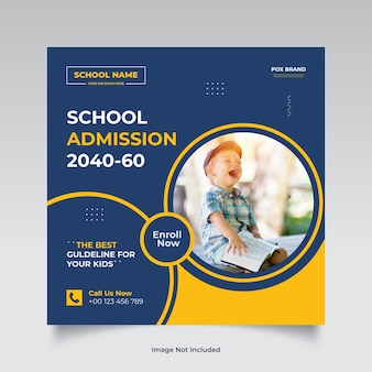 Postagem de mídia social para admissão escolar e modelo de banner da web