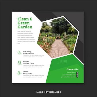 Postagem de mídia social para paisagismo e cuidados com o gramado e design de postagem do instagram de serviço de jardinagem verde
