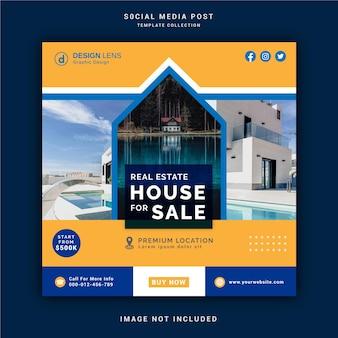 Postagem de mídia social para venda de casa imobiliária