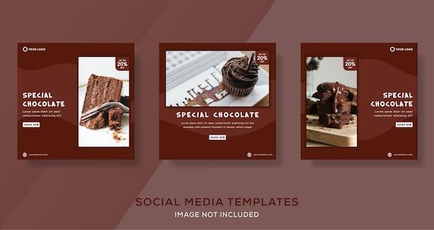 Postagem de modelo de banner de bolo de chocolate