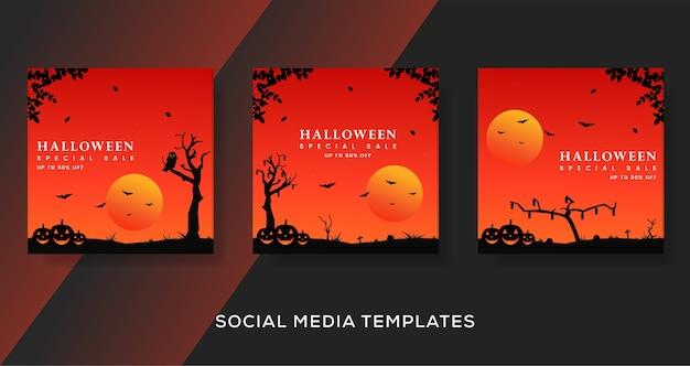 Postagem de modelo de banners de halloween.