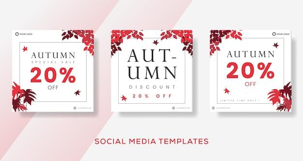 Postagem de modelo de banners de venda de outono.