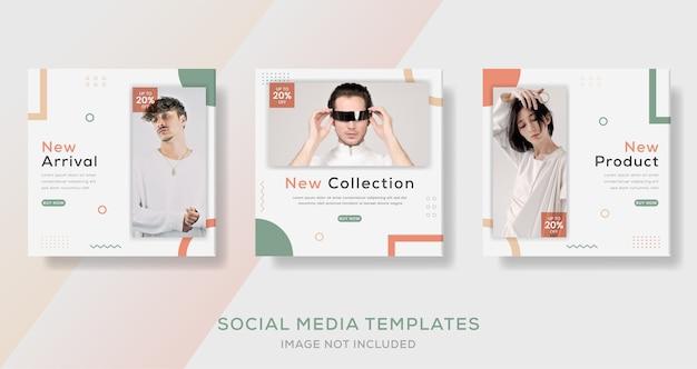 Postagem de modelo de banners geométricas minimalistas para venda de moda.