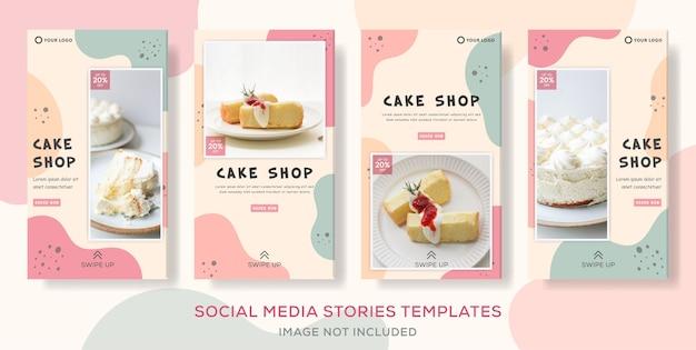 Postagem de modelo de histórias de banner de pacote de bolo.