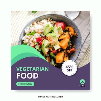Postagem de modelo de mídia social de comida vegetariana