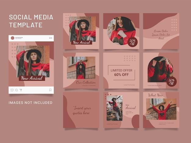 Postagem de modelo de quebra-cabeça de moda feminina nas redes sociais
