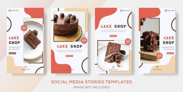 Postagem de modelos de histórias de coleção de banner de comida doces para a confeitaria de negócios.