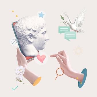 Postagem de namoro online correspondente à estátua do deus grego em mídia social estética