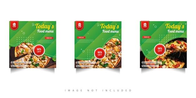 Postagem de promoção de alimentos nas redes sociais com gradiente verde