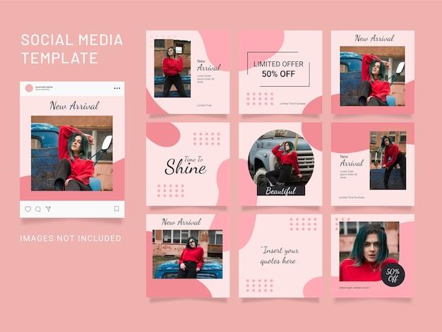 Postagem de quebra-cabeça de modelo de moda feminina para mídia social