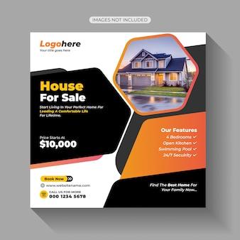 Postagem de venda de casa em mídia social
