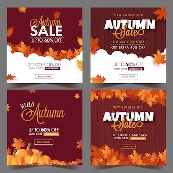 Postagem de venda de outono ou design de modelo decorado com folhas de plátano em quatro opções.