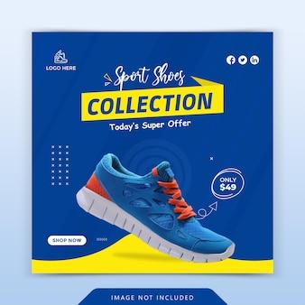 Postagem de venda de sapatos em mídia social e modelo de banner da web