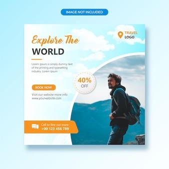 Postagem de viagens em mídia social ou modelo de banner
