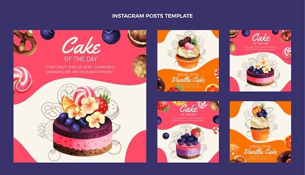 Postagem desenhada à mão sobre comida no instagram