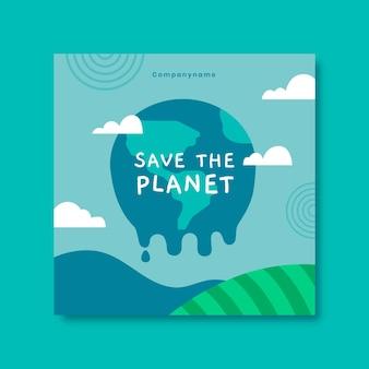 Postagem desenhada à mão sobre mudança climática no facebook