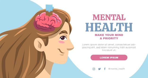 Postagem desenhada à mão sobre saúde mental no facebook