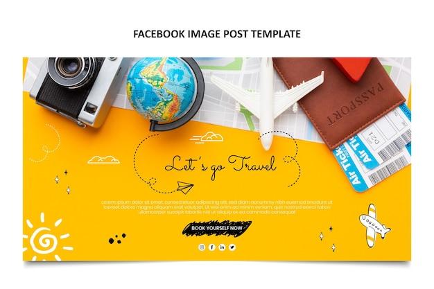 Postagem desenhada à mão sobre viagens no facebook
