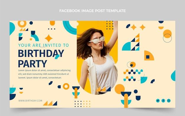 Postagem do facebook de aniversário em mosaico plano