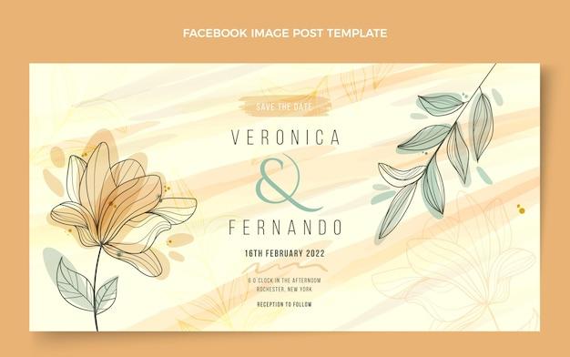 Postagem do facebook de casamento desenhado à mão Vetor grátis