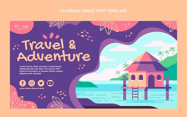 Postagem do facebook de viagens e aventuras de design plano