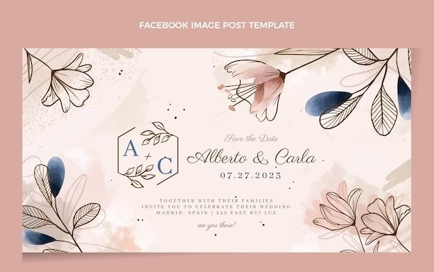 Postagem do facebook do casamento desenhado à mão em aquarela