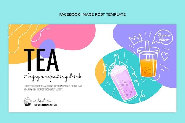 Postagem do facebook do chá da bolha desenhada à mão