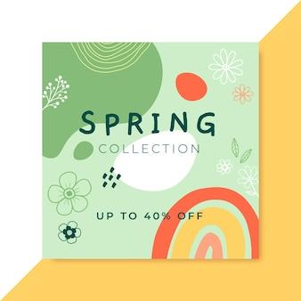 Postagem do facebook do doodle colorido da primavera