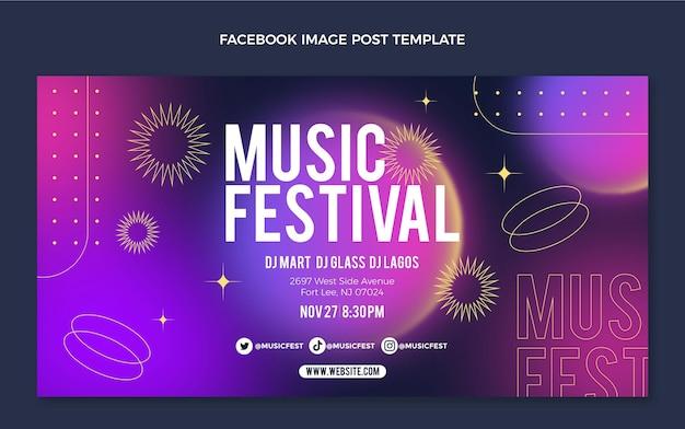 Postagem do facebook do festival de música gradiente colorido