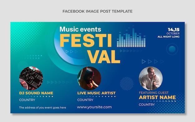 Postagem do facebook do festival de música gradiente de meio-tom