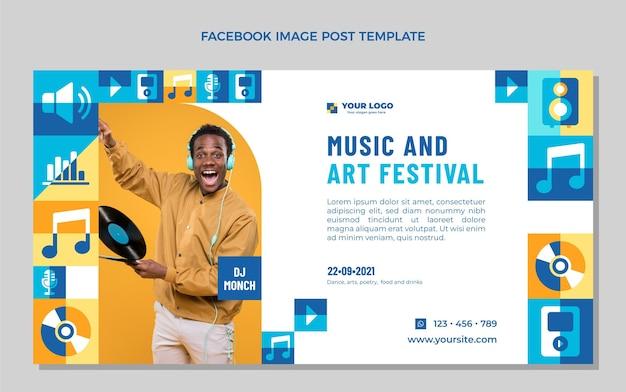 Postagem do facebook do festival de música mosaico plano