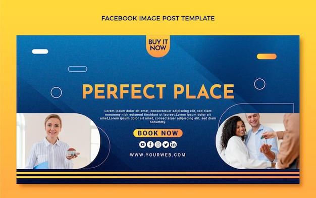 Postagem do facebook imobiliário com textura gradiente