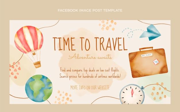 Postagem do facebook sobre viagens em aquarela
