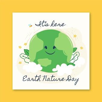 Postagem do instagram da natureza do dia da terra do doodle de memphis