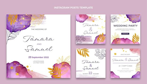 Postagem do instagram do casamento desenhada à mão em aquarela