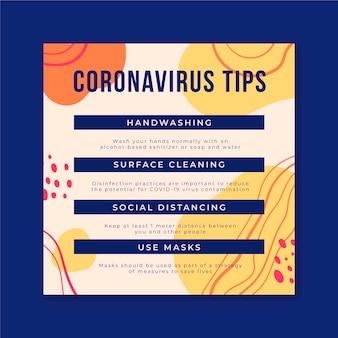 Postagem do instagram do coronavírus com dicas coloridas abstratas
