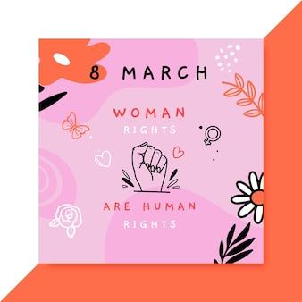 Postagem do instagram do doodle colorido do dia da mulher