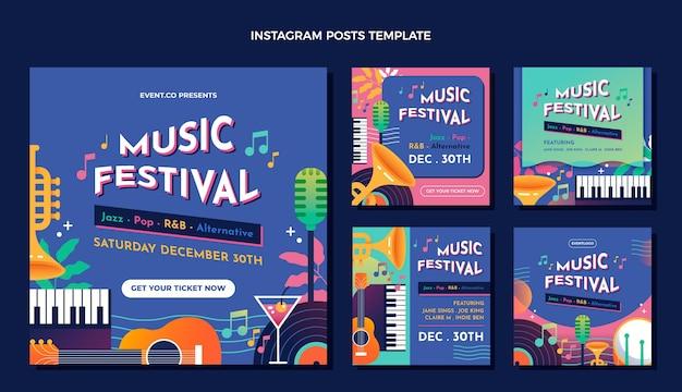 Postagem do instagram do festival de música colorida gradiente