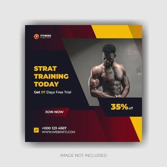 Postagem do instagram e design de flyer quadrado de mídia social de fitness e academia vector premium