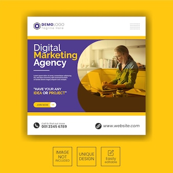 Postagem do instagram para agência de marketing digital ou modelo de banner quadrado da web