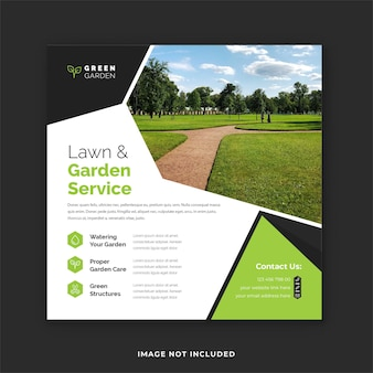 Postagem do instagram para cuidados com o jardim verde e modelo de flyer quadrado para serviço de cuidados com o gramado