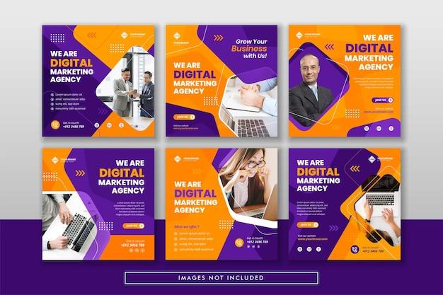 Postagem e banner na web de marketing de negócios digitais