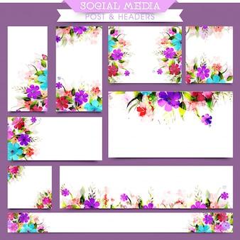 Postagem e cabeçalho de mídia social artística com flores de aguarela.