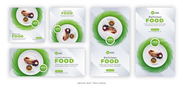 Postagem e história de comida em restaurantes com banner na web