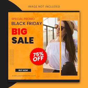 Postagem editável da black friday no instagram e modelo de banner do site