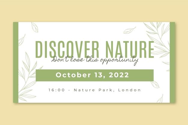 Postagem elegante e minimalista no twitter de um evento sobre a natureza